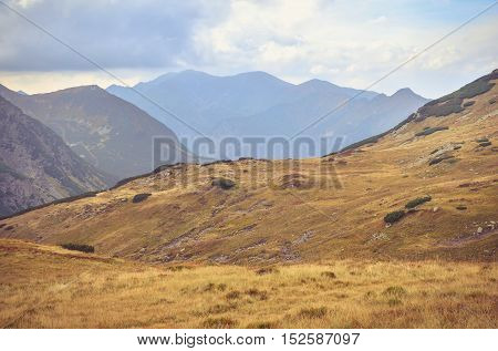 Beautiful mountain landscape. Mountain valley in the autumn scenery in High Tatra Slovakia.