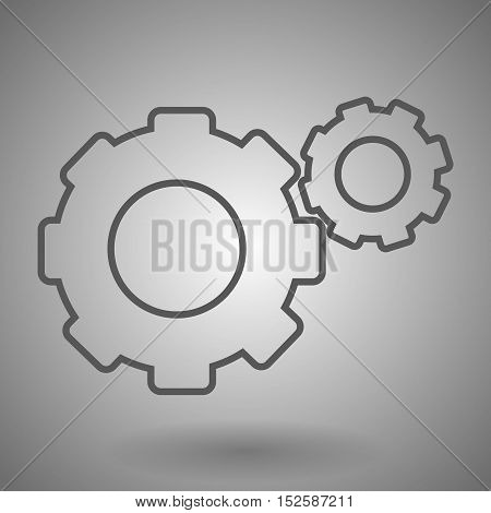 Double Gear The Line Art. two linear gear icon vector illustration on gray background.