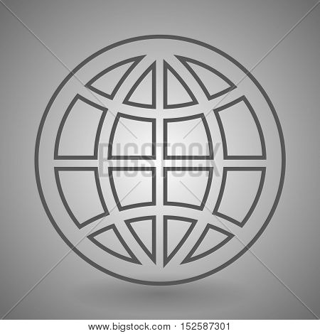 Earth globe icon - vector linear simple symbol or logo.