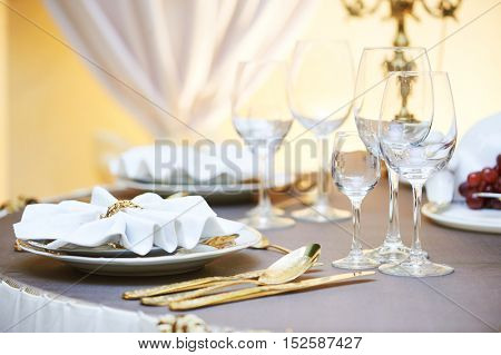 Catering restaurant event service. set table at party