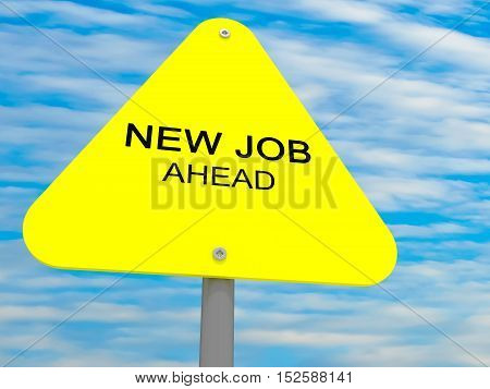 Triangle Yellow Road Sign New Job Ahead Against A Cloudy Sky 3d illustration
