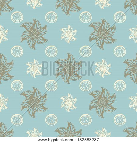 Sea seamless pattern blue background. Vector illustration Abstract sea hand drawn.