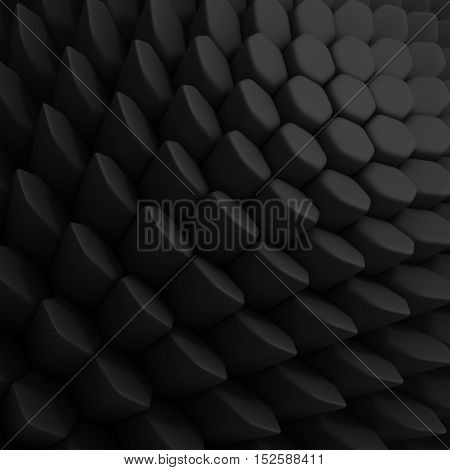 Black abstract hexagons backdrop. 3d rendering geometric polygons, as tile wall. Interior room