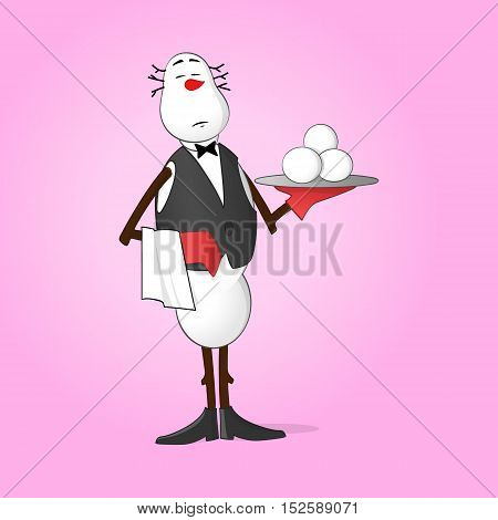 Waiter Snowman holding tray with fresh snowballs