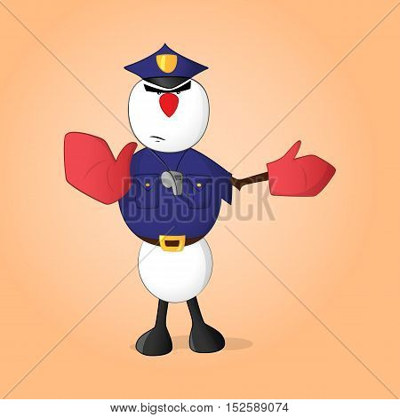 Snowman policeman with whistle showing gesture to stop and move to the right