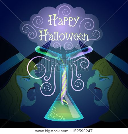 Halloween magic. Halloween chemistry. Poison beaker and poison vials with cloud of smoke. Witch head background.