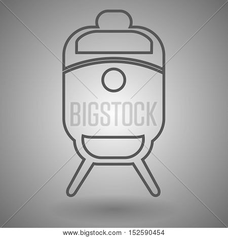 Train line icon outline vector illustration linear pictogram isolated on gray.