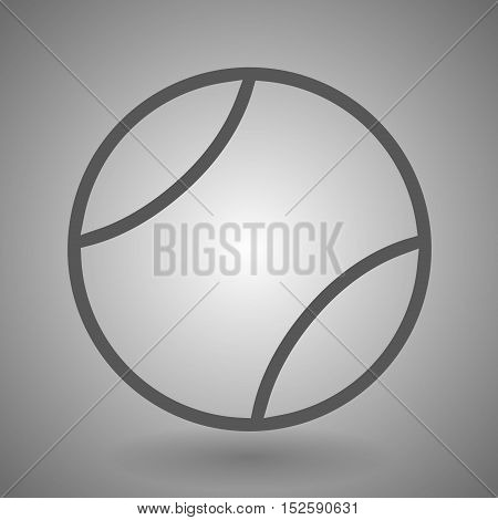 Tennis ball line icon for web mobile and infographics. Vector dark grey icon isolated on light grey background