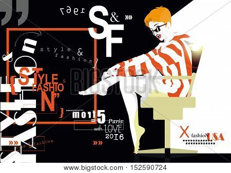 STYLE and FASHION word cloud concept with fashion woman. Vector illustration