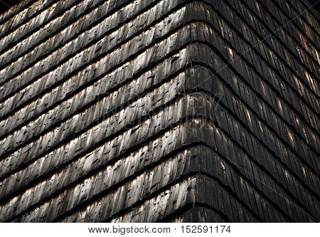 background or texture old wooden shingle roof