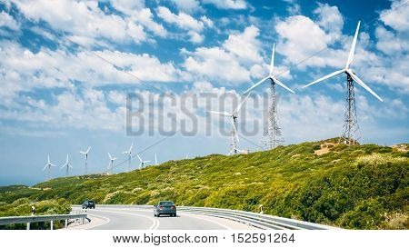 Windmills, wind turbines for electric power production in Andalusia, Spain