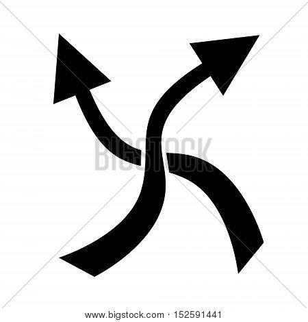 Two side arrow. Crossing arrows on white