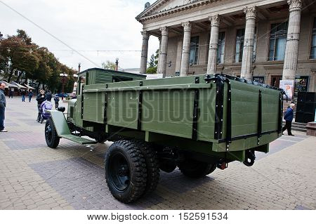 Tarnopol, Ukraine - October 09, 2016: Zis-5 Was A 4X2 Soviet Truck Produced By Moscow Zis Factory Fr