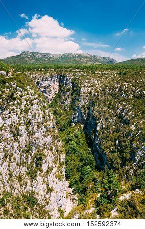 Beautiful landscape of the Gorges Du Verdon in south-eastern France. Provence-Alpes-Cote d'Azur.