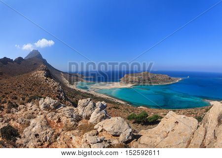 panoramic view of the most beautiful beach of the Crete - Balos lagoon