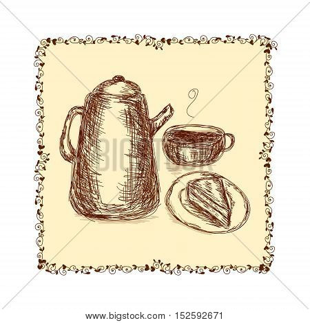 Vector hand drawn illustration for a coffee time decorated with floral frame on a light background. Decoration of different printed production design element book and magazine cover and image textile and postcard.