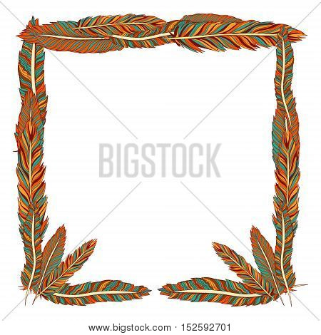 Vector vintage colored feather frame isolated on white. Decoration for printed production books and magazines boho and vintage style element.