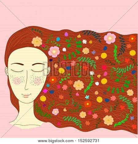 Vector cartoon naive picture with a personalized image of spring isolated on pink background. Illustration for children books and magazines winter theme floristry and printed production image.