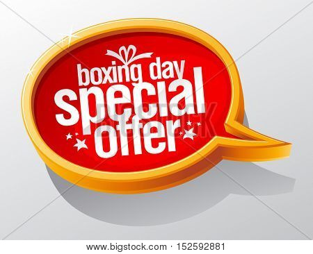 Boxing day special offer, golden sale speech bubble symbol concept