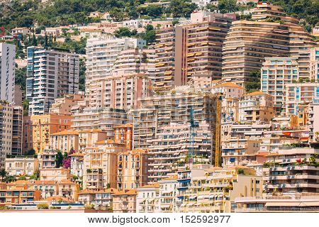 Monaco, Monte Carlo architecture background. Many multi-story houses, buildings.