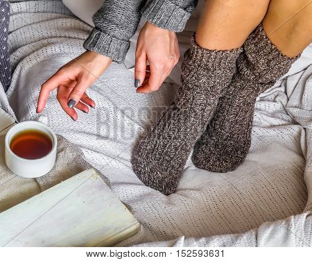 Warm And Cozy,the Girl In The Sweater