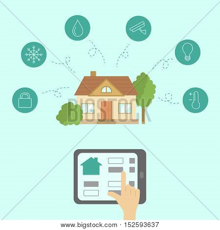 Vector smart house concept. Security conditioning humidity surveillance lightning and temperature flat line icons.