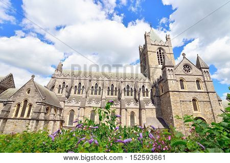 Christ Church Cathedral in Dublin Ireland. Flowers in front.