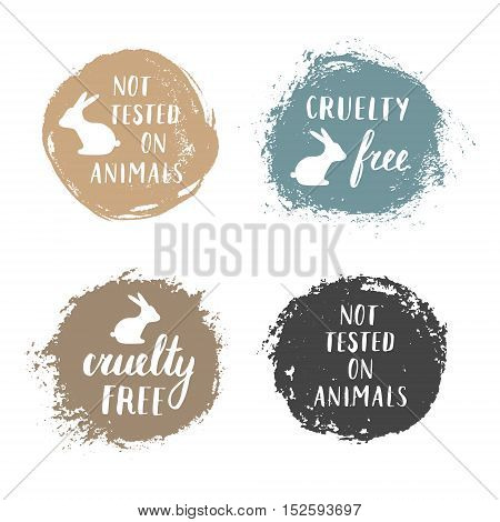 Vector set of Not Tested On Animals and Cruelty Free badges labels emblems stamps.