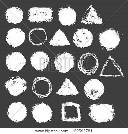 Vector hand drawn grunge shapes. Brushed circles, triangles and squares.