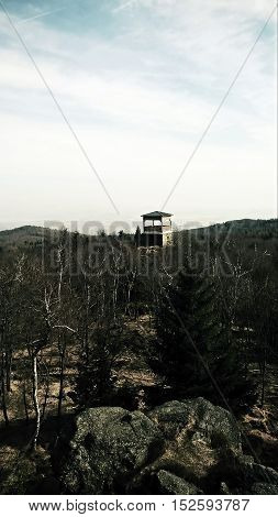 View on the landscape and forest prospect Jeřabina in the Czech republic.