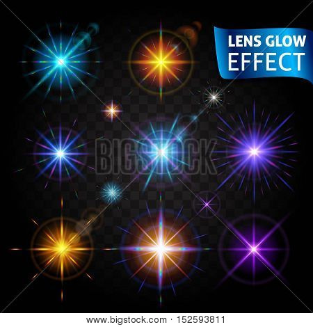Lens glow effect. Glowing light glare, bright realistic lighting effects on a transparent background. Use design, glow for the New Year, Christmas and holidays. Vector illustration