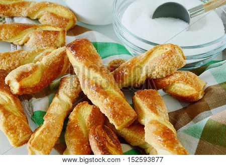 sugar puff pastry stick in the glass Jar