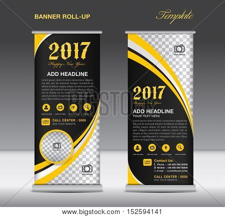 Yellow roll up banner template, banner design, stand template, display template, pull up, happy new year 2017