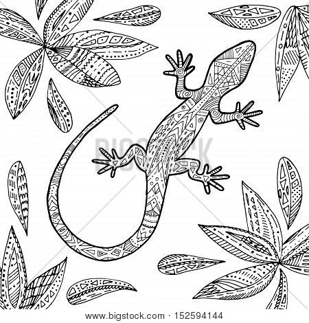 Vector lizard tropical illustration for adult coloring book. Hand drawn line art.