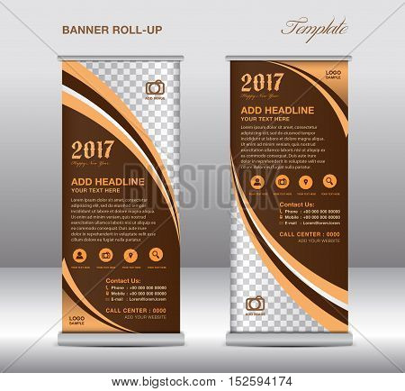 Brown roll up banner template, banner design, stand template, display template, pull up,advertisement, flyer design