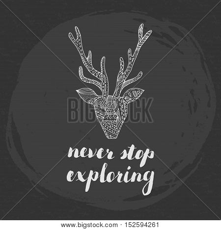 Never stop exploring concept, poster design. Calligraphy, deer silhouette.