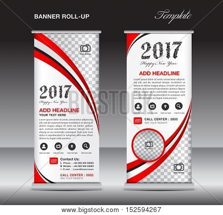 Red roll up banner template, banner design, stand template, display template, pull up, happy new year 2017