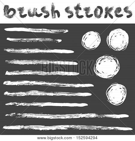 Vector hand drawn set of grunge brush strokes and circles.