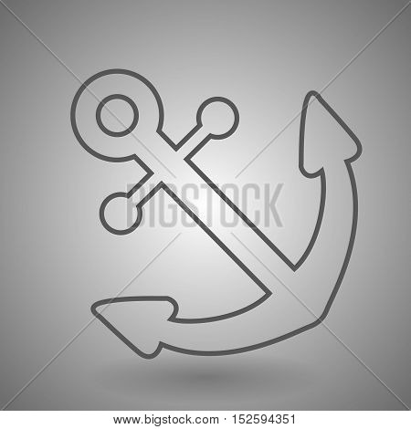 Anchor icon. Line style. Anchor isolated on gray background