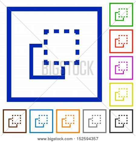 Set of color square framed bring to front flat icons