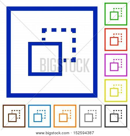 Set of color square framed send to back flat icons