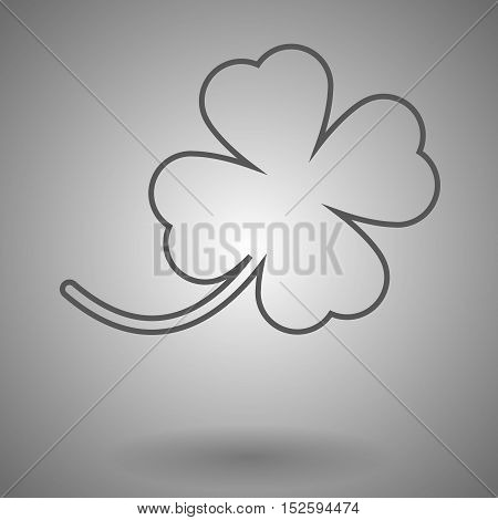 Four-leaf clover icon. thin line design vector illustration on gray background.