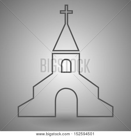 Church Outline Icon vector illustration on gray background.
