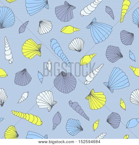 Vector seashell seamless pastel pattern. Cute background.