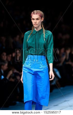 MOSCOW RUSSIA - OCTOBER 17 2016: Model walk runway for ALENA AKHMADULLINA catwalk at Spring-summer 2017 Mercedes-Benz Fashion Week Russia.