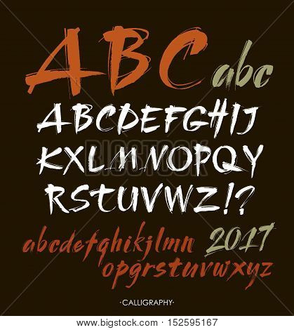 Vector Acrylic Brush Style Hand Drawn Alphabet Font. Calligraphy alphabet on a black background