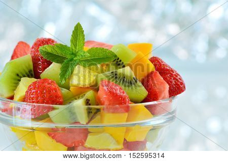Variety of fresh fruit in the summer