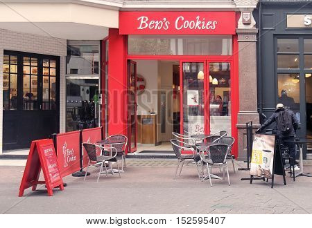 LONDON UK - March 24: Famous Ben's cookies shop in Carnaby Street in London UK - March 24 2016; Ben's Cookies is a chain of cookie shops in England founded in 1983.