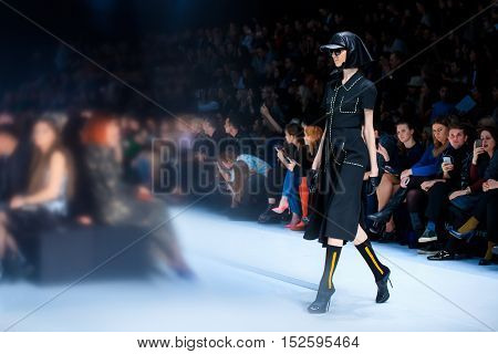 MOSCOW RUSSIA - OCTOBER 17 2016: Model walk runway for VIVA VOX catwalk at Spring-summer 2017 Mercedes-Benz Fashion Week Russia.