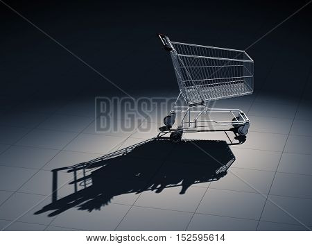 Empty Shopping Cart Cast Shadow As Shopping Cart Full Of Food. 3D Illustration.